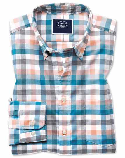 Classic fit coral multi check soft washed non-iron Tyrwhitt Cool shirt