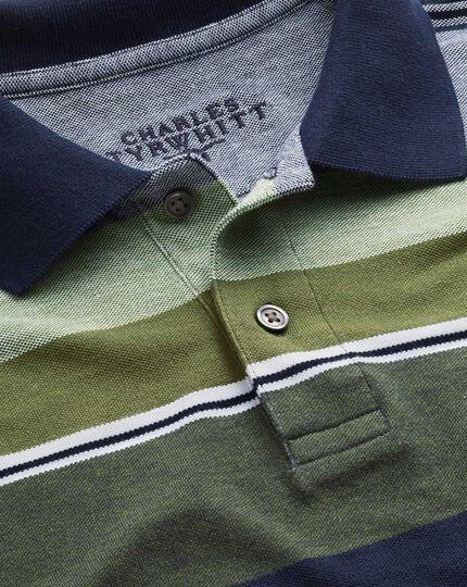 Bunt gestreiftes Piqué-Oxford-Polohemd in Oliv
