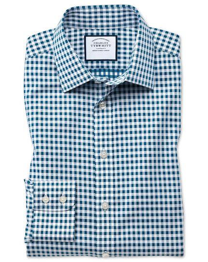 Bügelfreies Slim Fit Hemd in Blaugrün mit Gingham-Karos