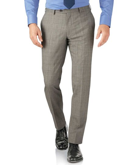 Grey Prince of Wales check slim fit Panama business suit trouser