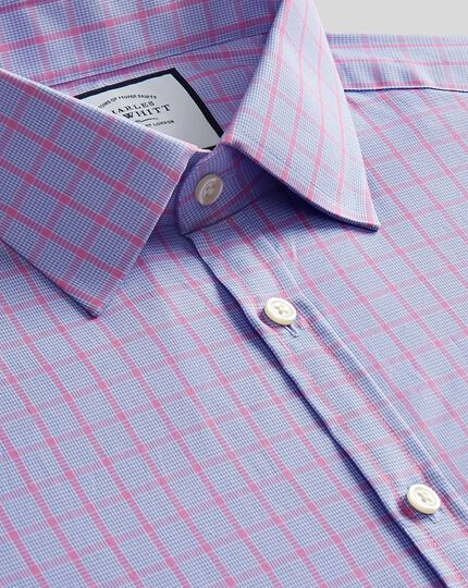 Popeline-Hemd mit Kent Kragen und Karos - Blau & Rosa