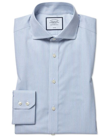 Slim fit non-iron soft twill sky blue stripe cutaway shirt