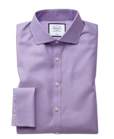 Super slim fit non-iron lilac twill shirt