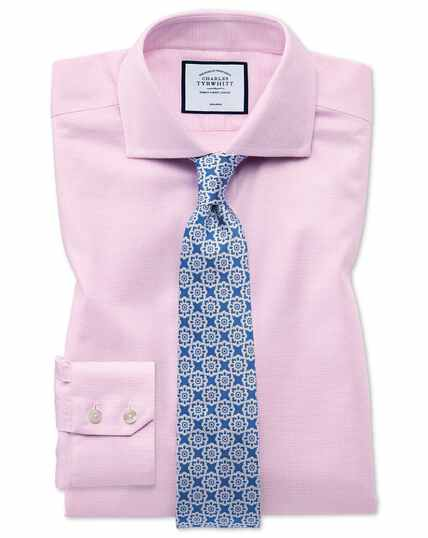 Non-Iron Cut-Away Collar Oxford Stretch Shirt - Pink