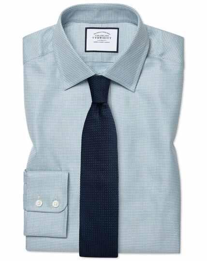 Extra slim fit Egyptian cotton chevron teal shirt