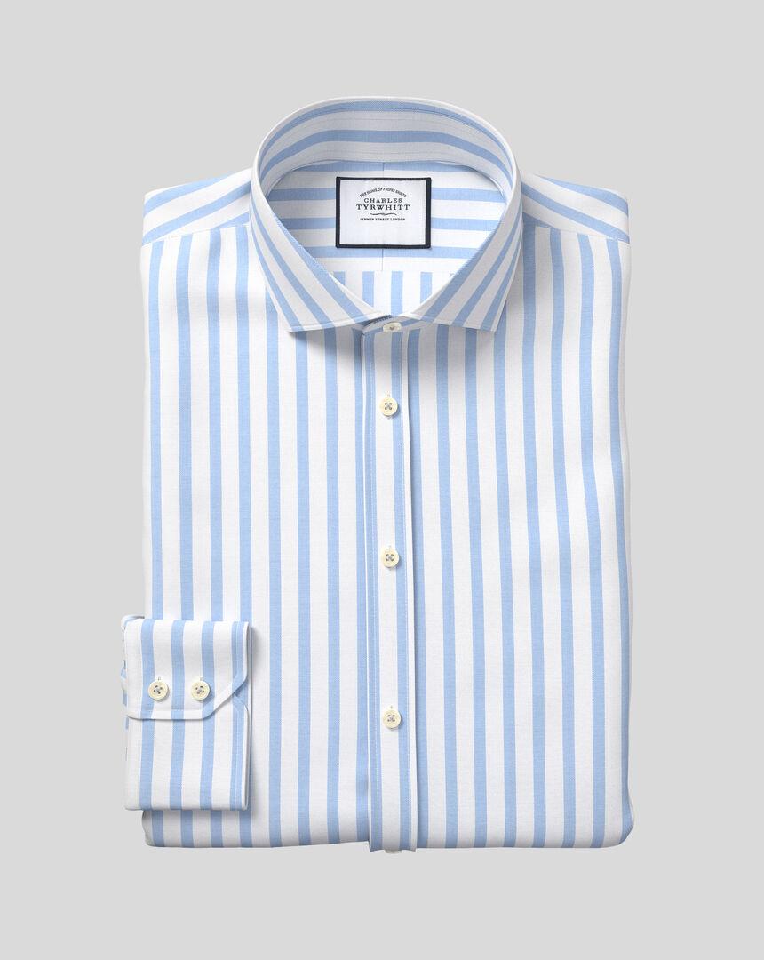 Hemd aus Stretch-Baumwolle mit TENCEL™, Haifischkragen und Streifen - Himmelblau