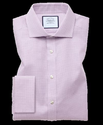 Extra slim fit spread collar textured puppytooth pink shirt
