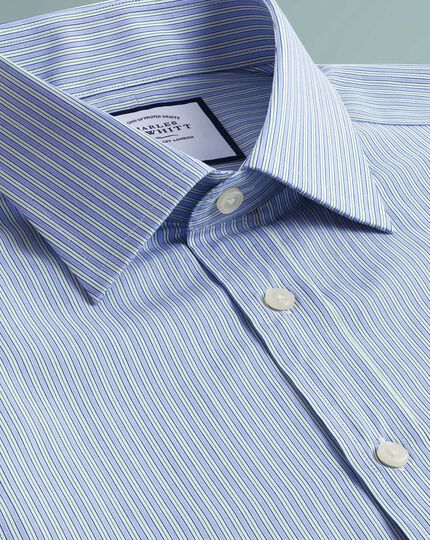 Classic fit Egyptian cotton poplin  blue and green fine stripe shirt
