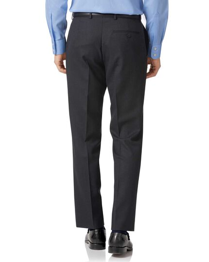 Charcoal classic fit birdseye travel suit pants