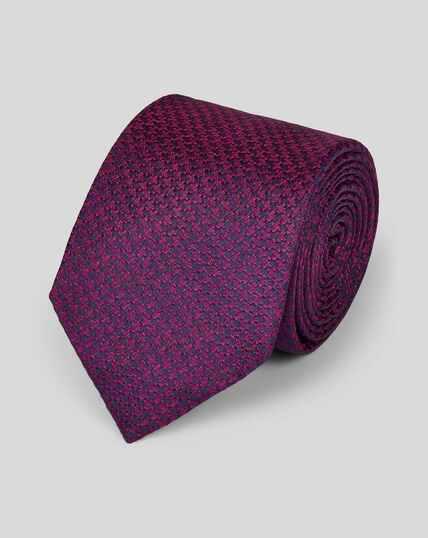 Silk Melange Puppytooth Classic Tie - Magenta