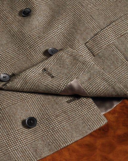Tan check adjustable fit British serge luxury suit vest