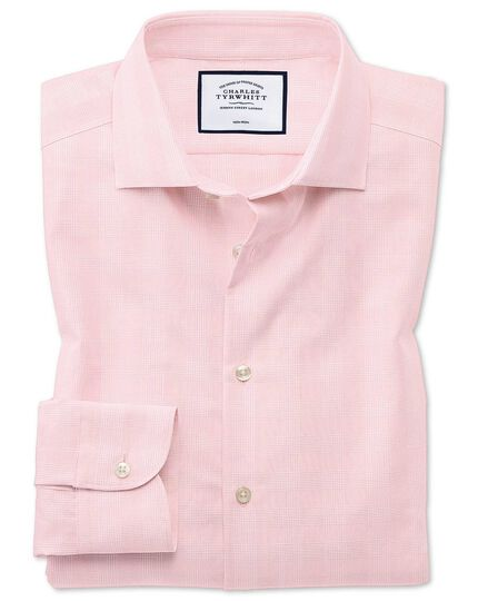 Slim fit business casual non-iron pink check shirt
