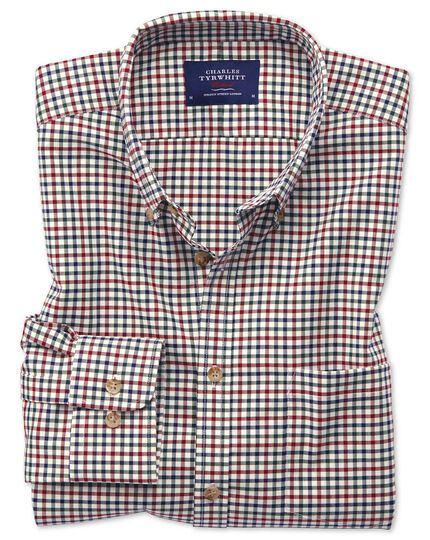 Slim fit button-down non-iron twill multi gingham shirt