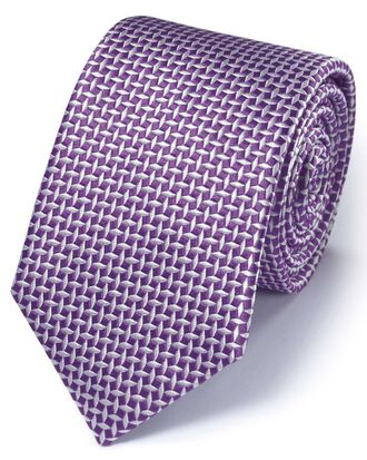Purple silk diamond lattice classic tie