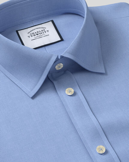 Classic Collar Egyptian Cotton Herringbone Shirt - Sky