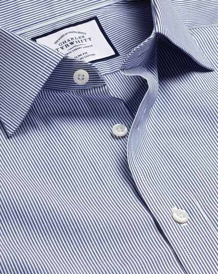 Twill-Hemd aus ägyptischer Baumwolle mit Semi-Haifischkragen und Bengal-Streifen - Königsblau