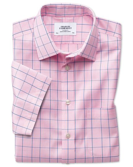 Bügelfreies Slim Fit Kurzarmhemd in Rosa mit Prince-of-Wales-Karos