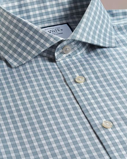 Slim fit non-iron twill gingham teal shirt