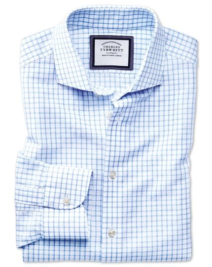 Slim fit spread collar business casual linen cotton sky blue shirt