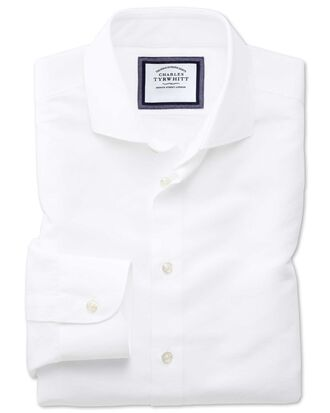 Slim fit cutaway business casual linen cotton white shirt