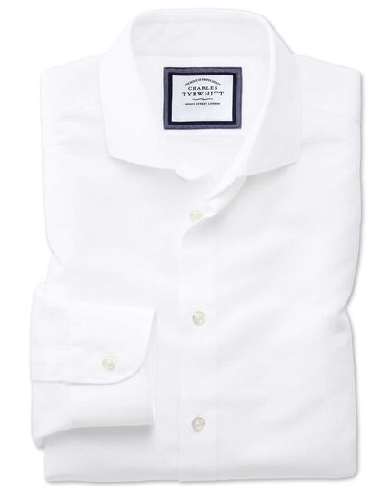 Slim Fit Business-Casual Hemd mit Haifischkragen aus Baumwoll-Leinen in Weiß