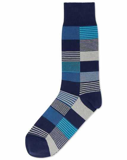 Navy and teal multi square socks