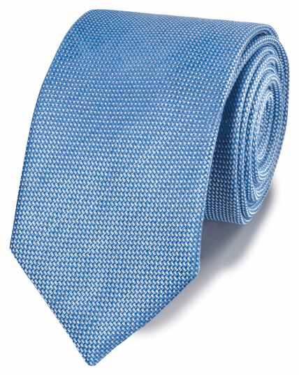Cravate classique bleu clair unie en lin et soie