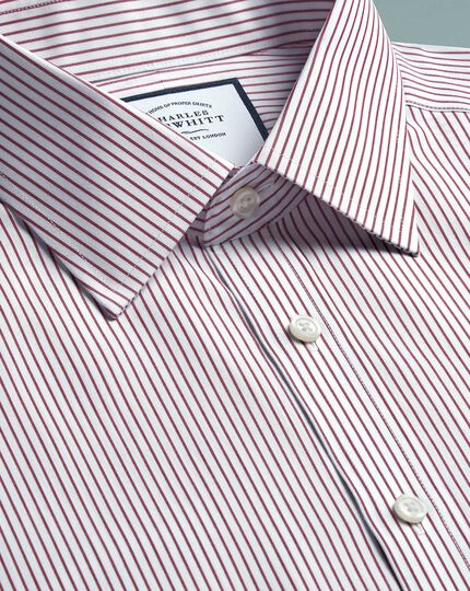 Non-Iron Stripe Shirt - Burgundy