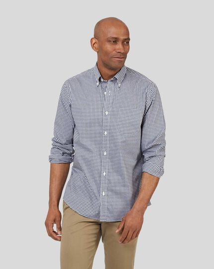 Button-Down Collar Non-Iron Stretch Poplin Gingham Shirt - Navy