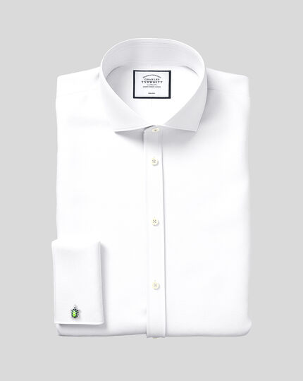 Cutaway Collar Non-Iron Herringbone Shirt  - White