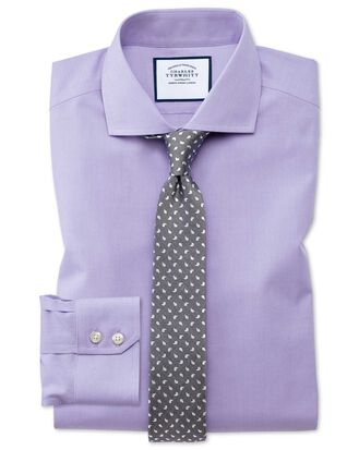 Extra slim fit spread collar non-iron poplin lilac shirt