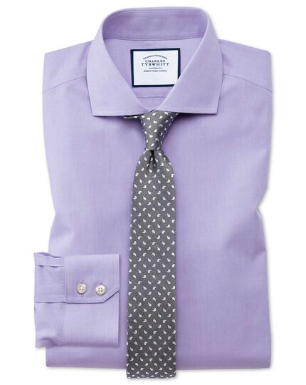 Extra slim fit spread collar non-iron poplin lilac shirt