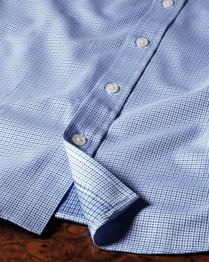 Slim fit spread collar Egyptian cotton textured blue shirt