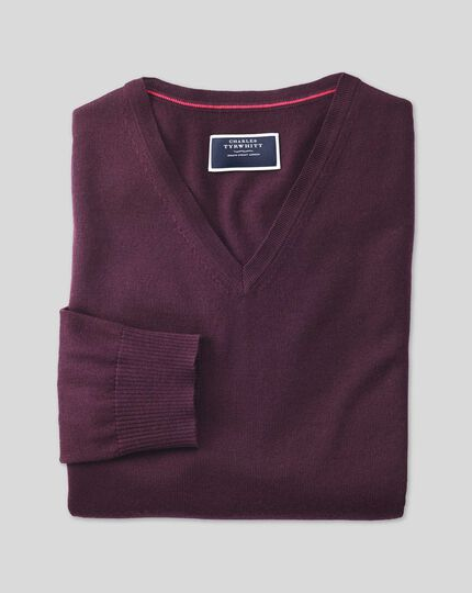 Merino V-neck Sweater - Wine
