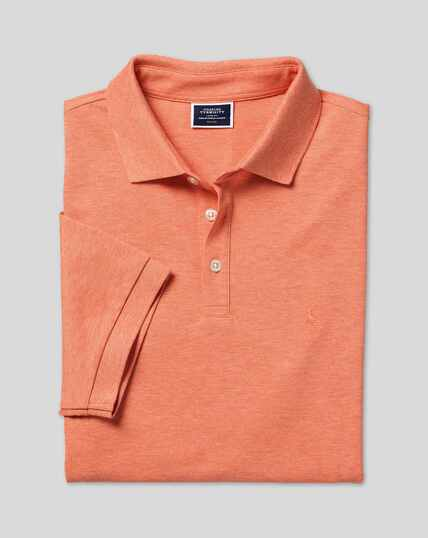 Tyrwhitt Pique Polo - Orange Marl