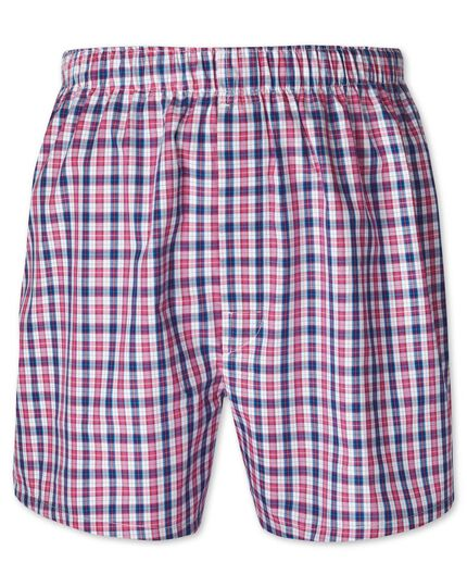 Pink check woven boxers