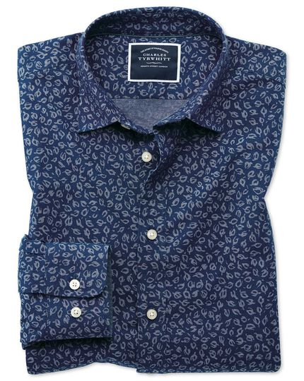 Classic fit leaf print blue chambray shirt