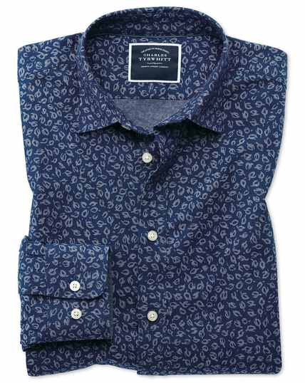 Slim fit leaf print blue chambray shirt