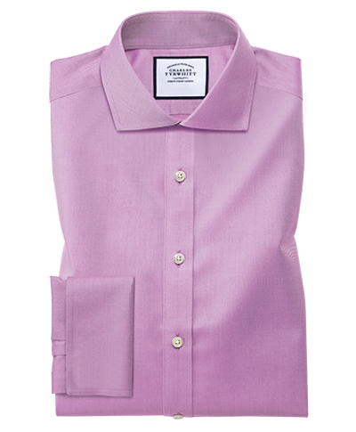 Slim fit cutaway collar non-iron twill violet shirt