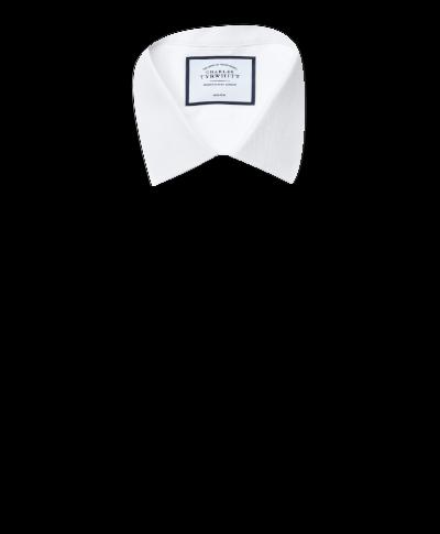 Super slim fit non-iron dash weave white shirt
