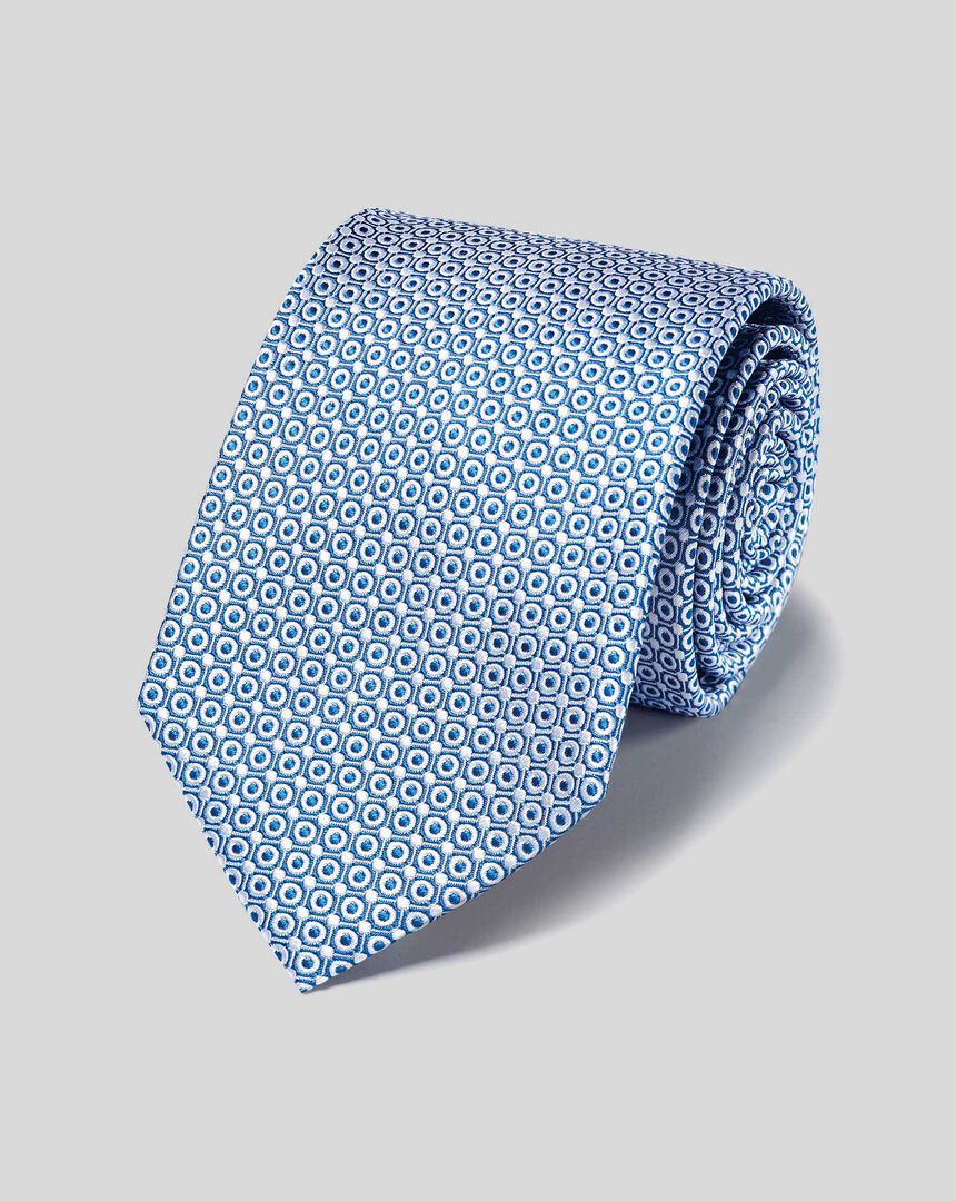 Stain Resistant Silk Classic Tie - Royal Blue & White