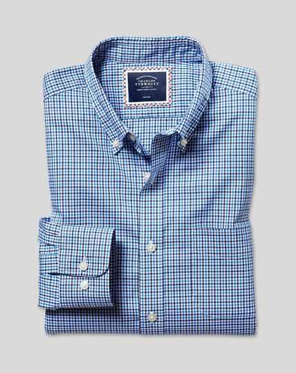 Bügelfreies Oxford Hemd aus Stretchgewebe mit Button-down-Kragen und bunten Gingham-Karos - Blau