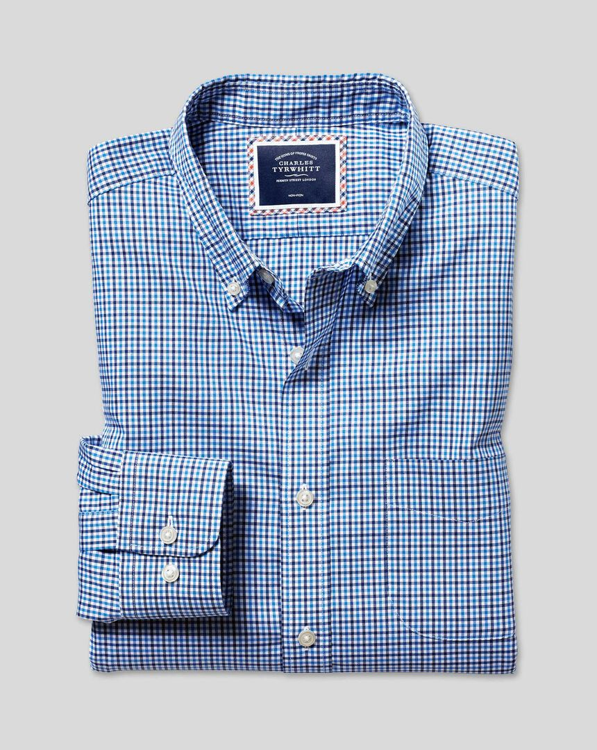 Button-Down Collar Non-Iron Stretch Oxford Gingham Shirt - Blue Multi
