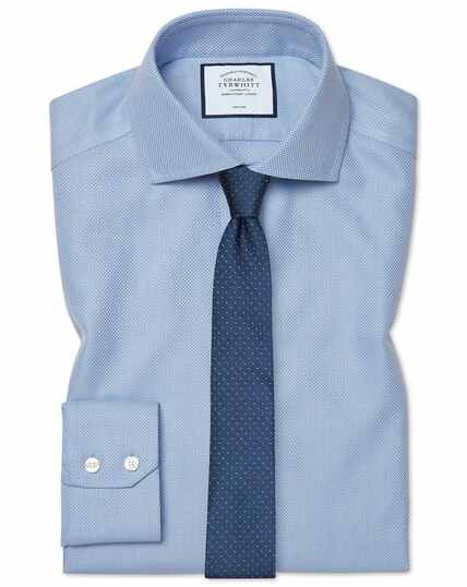 Extra slim fit cutaway non-iron Buckingham weave blue shirt