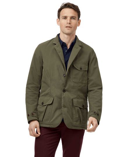 Green twill sports coat