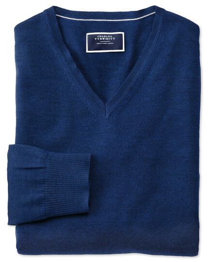 Pull bleu roi en laine mérinos à col en V