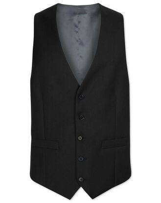Black adjustable fit twill business suit vest