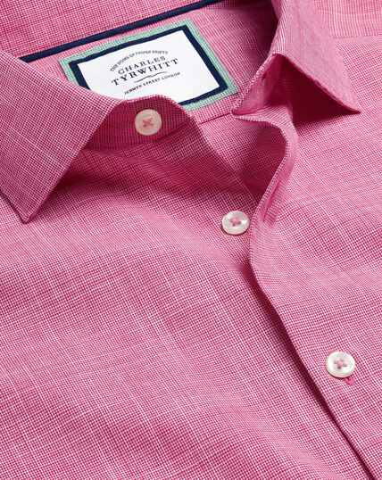 Smart Casual Collar Slub Shirt - Pink