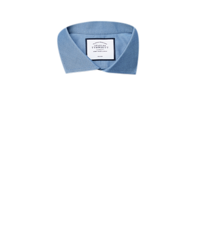 Bügelfreies Slim Fit Twill-Hemd mit Haifischkragen in Blau