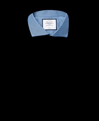 Slim fit non-iron spread collar twill blue shirt